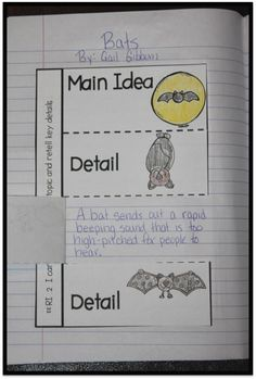 Main idea and details journal activity. Could be used for a variety for fiction and nonfiction texts. Reading Lessons, Reading Strategies, Reading Activities, Reading Skills, Teaching Reading, Teaching Ideas, Reading Comprehension, 2nd Grade Ela, 3rd Grade Reading