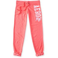 Aeropostale Aero Sequin NYC Cinch Sweatpants ($10) ❤ liked on Polyvore featuring activewear, activewear pants, pants, bottoms, coral pink, sweat pants, slim fit sweat pants, red sweatpants, red sweat pants and aéropostale