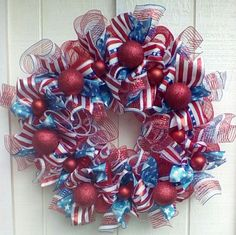 Deco Mesh Americana Flag Ribbon Wreath Patriotic Red White and Blue  #DecoMesh