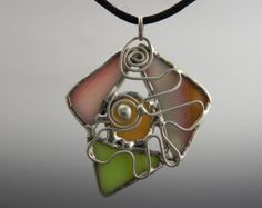 Multi-Colored Stained Glass Abstract Pendant