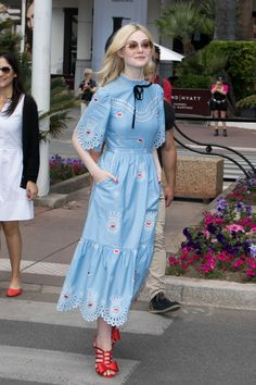 In a Temperley Blue Dress With Modern Red Dorothy Slippers From Laurence Dacade  - ELLE.com