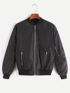 #AdoreWe #SheIn Jackets - SheIn Black Zip Up Bomber Jacket With Arm Pocket - AdoreWe.com