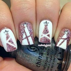 Pink Glittery Christmas Tree Nail Designs.