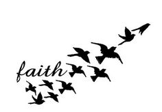 This is a sketch of a tattoo that has a huge meaning behind it. The birds flying away represent freedom. The word faith next to them represents faith people have when they know they are their own person and don't belong to someone.