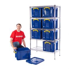 Chrome Bay With 35 Litre Really Useful Boxes Self Storage, Kids Storage, Office Storage, Storage Boxes, Storage Ideas, Garage Shelving, Garage Storage, Locker Storage, Workspace Design