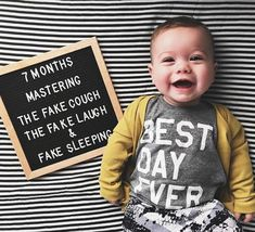 This little guy is too cute! This little guy is too cute! Monthly Baby Photos, Newborn Baby Photos, Monthly Pictures, Baby Captions, 7 Month Old Baby, Milestone Pictures, Baby Letters, Baby Boy Pictures, Baby Girl Photography