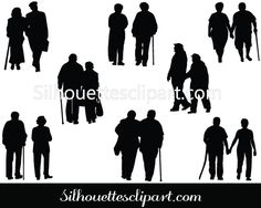 Silhouette Old Couple Walking Download Couple Vectors