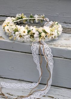 Items similar to Bridal Floral Crown Wedding Accessories dried flower hair wreath Headpiece boho halo Ivory White garland Fairy circlet lace headdress on Etsy White Flower Crown, Flower Crown Bride, Floral Crown Wedding, Daisy Wedding, Blush Wedding Flowers, Bride Flowers, Bridesmaid Flowers, Flowers In Hair, Flower Hair