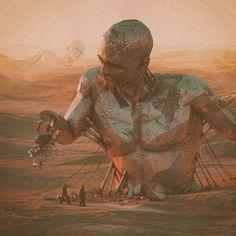 from @beeple_crap -  MERCIA.2216  #everyday #3d #c4d #cinema4d #scifi #art #modernart #unreal #surreal #surrealism #giants #sunset #instaart #visionarts #dailyart #photoart #instasurreal #instaartist #artistsofinstagram #artoftheday #desert by surrealismodipendenza2