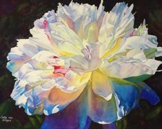 White Peony Art Watercolor Painting Print by by CathyHillegas