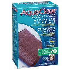 🐠 70 AquaClear Activated Carbon Filter Insert improves water clarity in fresh and saltwater aquariums. Exclusively designed for the AquaClear Power Filters, it provides superior absorption qualities which eliminate odors, discoloration and impurities.
