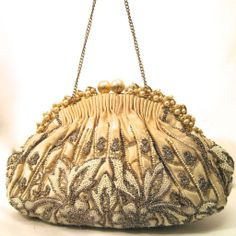 Beaded Purse France Faux Pearls Floral Bag