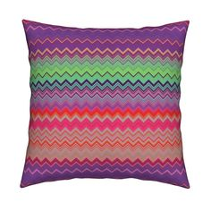 Catalan Throw Pillow featuring FRUIT SALADE HARMONY CHEVRONS 3 ZIGZAG by…