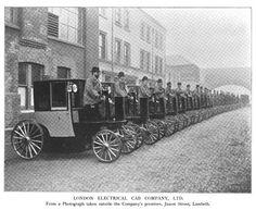 Fleet belonging to the London Electrical Cab Company, Ltd., Juxon Street, Lambeth, 1899.