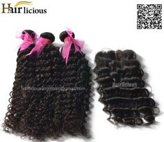 Best Hairlicious 6A Mixed 3/4Bundles Malaysian Virgin Hair Curly Wave Human Hair Bundles with 4*4 Middle Part Swiss Lace Closure Online with $37.8/Piece | DHgate