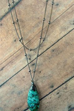 African Turquoise Gunmetal Chain Wire Wrapped by Cheshujewelry, $26.00