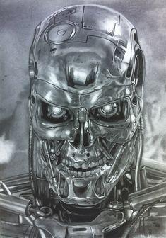 Ilustración en grafito, Terminator T-800