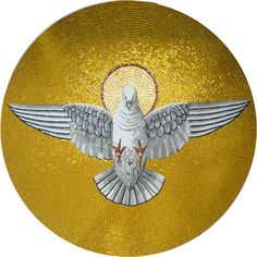 This mosaic is handmade from glass with a main focus on the dove, the symbol of the holy spirit. Similar to most religious mosaics, it has a golden background with a circle behind the dove's head representing the sun. Spiritual Images, Spiritual Symbols, Mosaic Wall Art, Mosaic Glass, Mosaic Artwork, Christian Symbols, Christian Art, Mosaic Designs, Mosaic Patterns