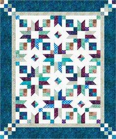 Counting Stars designed by Cozy Quilt Designs. Features Artisan Batiks: Gemstones by Lunn Studios, shipping to stores July 2017. Roll-up friendly. Pattern available for purchase (cozyquilt.com) #artisanbatiks