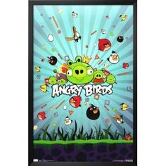 Professionally Framed Angry Birds Group Video Game Poster Print - 22x34 with Solid Black Wood Frame --- http://obas.us/hn