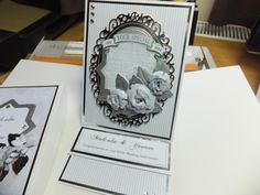 (Ref:B4) Justrite stamps and Spellbinder dies for a wedding anniversary card in grey and silver.