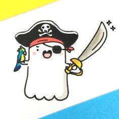⚔👻☠ it's Captain Spook! If you're not nice, he will make you walk the plank! 😱💦 de halloween dibujos Learn To Draw Comics - Drawing On Demand Bff Drawings, Kawaii Drawings, Doodle Drawings, Cartoon Drawings, Easy Drawings, Doodle Art, Cute Halloween Drawings, Halloween Doodle, Kawaii Doodles