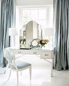 Porcelain Blue Silk Curtain Dupioni By Zylstraartgallery Dressing Tables Area Atlanta Homes