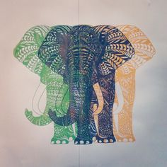 drawing art cute rainbow beautiful hipster vintage green elephant animal lovely blue nature amazing yellow