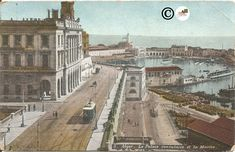 Algiers the Consular Palace and the Navy Alger Street Scene Vintage Postcard Old Trolley Car Port #ButterflysPin