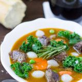 Healthy Beef Stew with Kale is upgraded to premium nutritional status when it's thickened with sweet potatoes and seasoned with fresh rosemary.