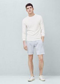 Oversize panel t-shirt - Man Mango Sale, Seersucker, White Shorts, Bermuda Shorts, Cotton Fabric, Normcore, Casual, T Shirt, Clothes