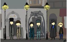 221B Baker Street -- fan art by ~Specifically-So.   L-R: Granada Sherlock Holmes, RDJ Sherlock Holmes, BBC Sherlock.