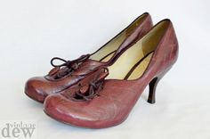 1940 S heels 1930 s size 4.5 CLARKS vintage lace up LOUIS HEELS burgundy red