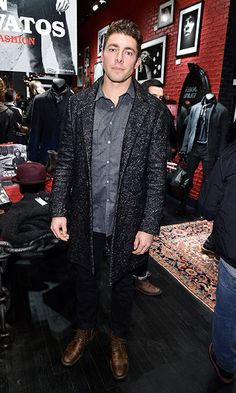 "More with Lupul: ""The Canadian ice hockey player did a good job of playing up the texture of this knee length top coat by pairing it with a lighter chambray shirt. Ice Hockey Players, Most Stylish Men, Hottest Male Celebrities, John Varvatos, Top Coat, Tom Ford, Gentleman, Leather Jacket"
