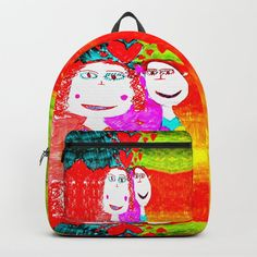 """Designing our premium Backpacks is a meticulous process, as Artists have to lay out their artwork on each component. One size fits all men and women, with heavy-duty construction that's able to handle the heavy lifting for all your school and travel needs.     - Standard unisex size: 17.75"""" (H) x 12.25"""" (W) x 5.75"""" (D)   - Crafted with durable spun poly fabric for high print quality   - Interior pocket fits up to 15"""" laptop   - Padded nylon back... D Craft, Designer Backpacks, Love Signs, One Size Fits All, Childhood, Laptop, Handle, Construction, Artists"""