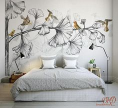 Wall mural nature large corner tree removable wallpaper watercolor grey tree with gold birds kids wall sticker home décor