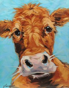 Cow Painting, 11x14 inch original oil painting of a whimsical Cow,Cow art