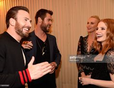 Actors Chris Evans, Chris Hemsworth, Charlize Theron and Jessica Chastain attend the 2016 MTV Movie Awards at Warner Bros. Studios on April 9, 2016 in Burbank, California. MTV Movie Awards airs April 10, 2016 at 8pm ET/PT.