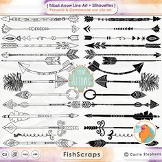 Tribal indian Arrow ClipArt Hand Drawn Arrow Line por FishScraps