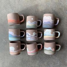 Confession: I'm enjoying making these one-off designs way more than the classics🙈😅 I love that each one is different and when I start I… Pottery Mugs, Ceramic Pottery, Pottery Art, Painted Pottery, Ceramic Cafe, Ceramic Mugs, Pottery Painting, Ceramic Painting, Painted Ceramics