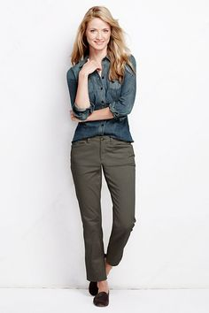 Women's Fit 1 Low Rise Slim Leg Chinos from Lands' End