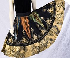 Vintage Mexican Skirt  50s Hand Painted by littlethingsvintage