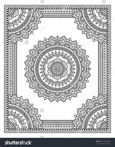 Frame in eastern tradition. Stylized with henna tattoos decorative pattern for decorating covers for book, notebook, casket, magazine, postcard and folder. Flower mandala in mehndi style. Mandala Art Lesson, Mandala Artwork, Mandala Painting, Mandala Sketch, Mandala Drawing, Unique Drawings, Art Drawings, Pottery Painting Designs, Doodle Art Drawing