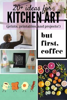 A roundup of more than 20 awesome ideas for art for your kitchen - including prints, free printables, and DIY ideas! Kitchen Art Prints, Kitchen Wall Art, Diy Kitchen, Kitchen Ideas, Art For The Kitchen, Kitchen Inspiration, Kitchen Magic, Home Crafts, Diy And Crafts