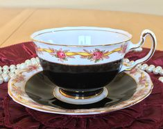 Adderley Teacup and Saucer, Black and White with a Yellow Ribbon and Pink Rose Garland, Bone China - c. 1950-1962