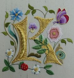 """♒ Enchanting Embroidery ♒ embroidered monogram """"k"""" with flowers - Royal School of Needlework Embroidery Letters, Silk Ribbon Embroidery, Beaded Embroidery, Cross Stitch Embroidery, Machine Embroidery, Embroidery Designs, Jacobean Embroidery, Gold Work, Illuminated Letters"""