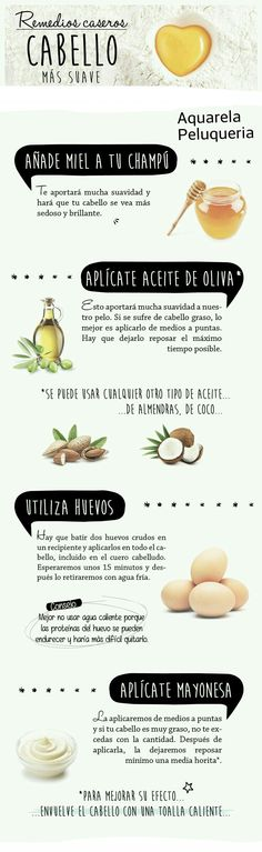 Remedios caseros para conseguir un cabello más suave. #Trucos #Cabello #remedios