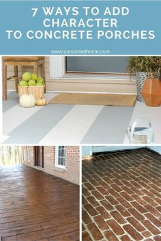 Painted Concrete Front Porch - 7 ways to add character to a concrete porch concrete porch How to paint a porch floor with concrete paint the How to paint. Concrete Patios, Stained Concrete Porch, Concrete Front Porch, Patio Slabs, Stain Concrete, Painting Concrete Porch, Painted Patio Concrete, How To Paint Concrete, Painting Concrete Floors