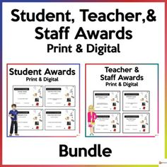 Celebrate your student's achievements and recognize the efforts and hard work of your teachers and staff with our editable student, teacher, and staff awards. A. Student Awards Print and DigitalOur older students need to be recognized and affirmed for their dedication and efforts in school. We have ...