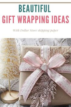 An inexpensive way to wrap presents is to use Dollar Store shipping paper. Just add pretty ribbon and a couple of floral stems. I show 5 different ribbon variations here.